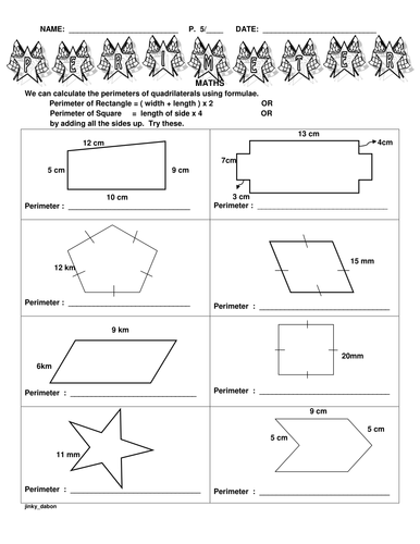 ks2 perimeter of different shapes by jinkydabon teaching resources. Black Bedroom Furniture Sets. Home Design Ideas