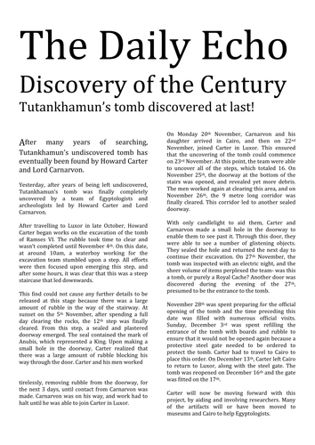 A newspaper article about Tutankhamun | Teaching Resources