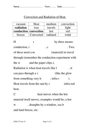 Worksheets Conduction Convection Radiation Worksheet conduction convection radiation by chrisphughes teaching resources tes