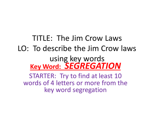 Racism In The USA The Jim Crow Laws by MissRathor Teaching – Jim Crow Laws Worksheet