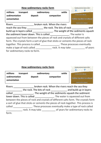 Sedimentary Rocks By Cmrender Teaching Resources