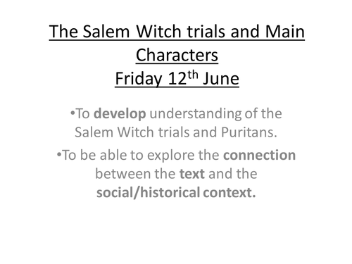 The Crucible Salem Witch Trials by MissRathor Teaching – Salem Witch Trials Worksheet