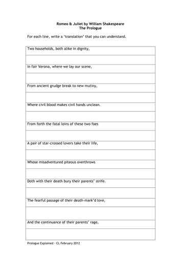 Romeo & Juliet: Lesson Resources on The Prologue by catswhiskers36 ...