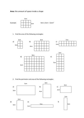 Area Of Rectangles By Fionajones88 Teaching Resources
