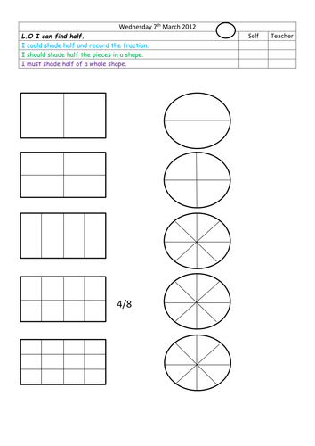find half of given shapes by landoflearning teaching resources tes - Shape Pictures To Colour