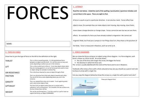 Force diagrams by PinkHelen Teaching Resources TES – Force Diagrams Worksheet