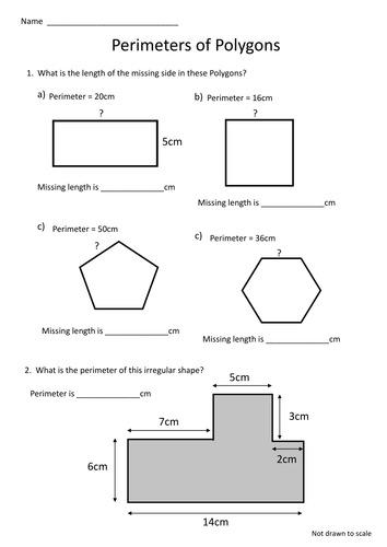 Polygon Perimeter Worksheet Missing Lengths By Craigyd