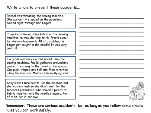 Starter Activity Sewing Machine Safety Rules By Amyrees