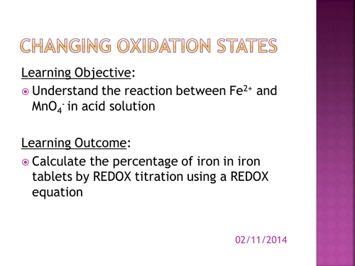 Redox and oxidation states by salreid Teaching Resources Tes – Titration Practice Worksheet