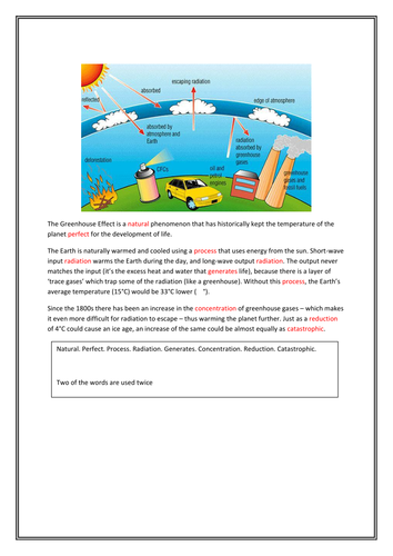 Greenhouse cloze worksheets: differentiated