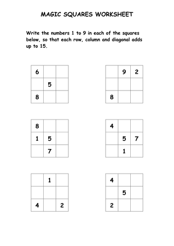 Printables Magic Squares Worksheet magic squares puzzle worksheet by ryansmailes teaching resources tes