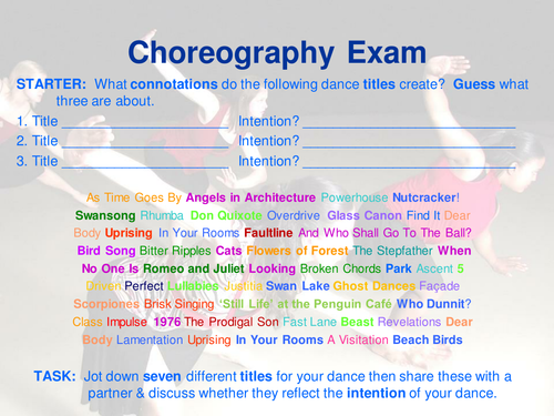 Creating Programme Note for GCSE/AS/A2 Dance
