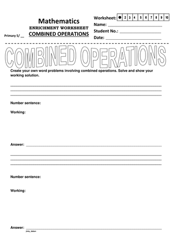 Create Your Own Combined Operations' Word Problems