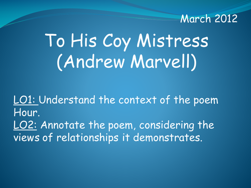 the nature of time in the poem to his coy mistress by andrew marvell