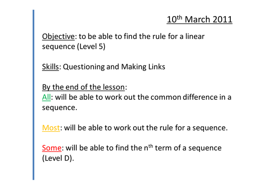 Sequences Lessons nth term linear