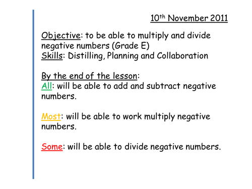 Multiplying and Dividing Negatives by Tristanjones - Teaching ...