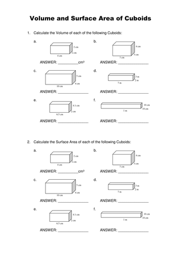 Printables Surface Area Worksheet surface area of a cube worksheet versaldobip davezan