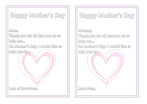 mothers day card inserts by miss_n teaching resources tes