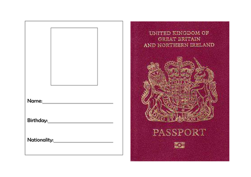 Passport template by torstout teaching resources tes for Passport picture template