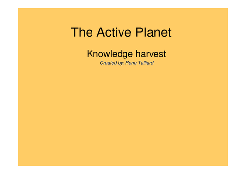 IPC - Active Planet by rene talliard | Teaching Resources