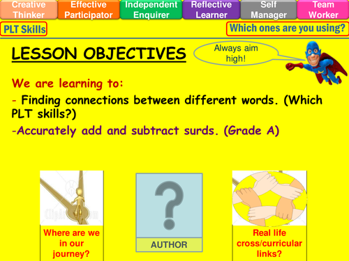 Surds Adding And Subtracting Lesson By Mistrym03 Teaching