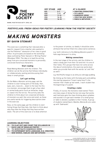 Making Monsters: a poetry lesson by Gavin Stewart