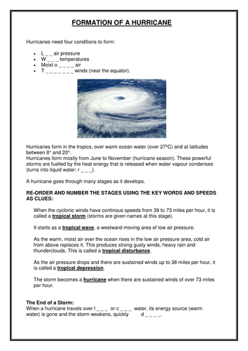 Formation of a Hurricane: higher and lower ability