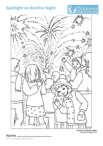 Fireworks on Bonfire Night Colouring Sheet