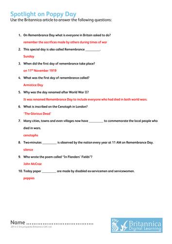 Poppy Day Quiz