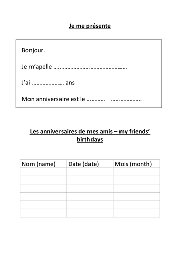 name age birthday in french worksheet by hannahw2 teaching resources. Black Bedroom Furniture Sets. Home Design Ideas