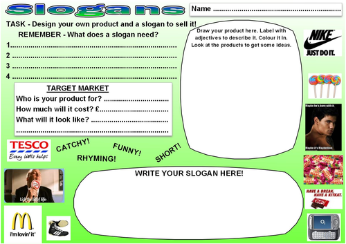 Writing A Slogan Worksheets By Fizzielizzie Teaching
