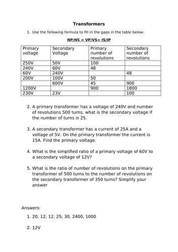 transformers - calculations