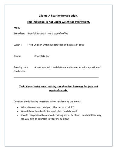Client menu planning