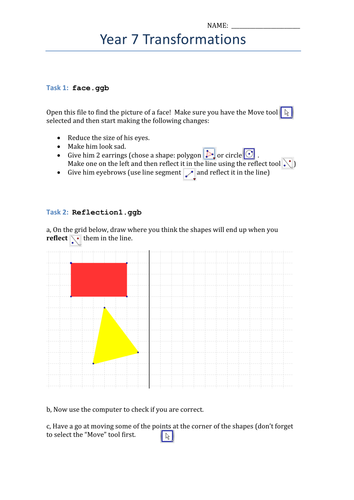 Exploring reflections and rotations using Geogebra