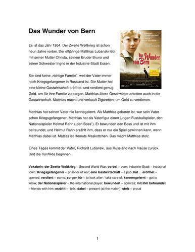 Das Wunder von Bern by petermorris2001 - Teaching Resources - Tes