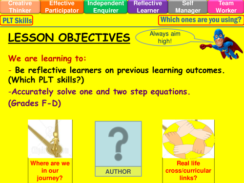 Solving one and two step equations lesson