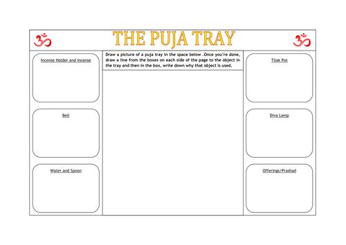 Hindu Puja Tray Worksheet by missp87 Teaching Resources Tes – Hinduism Worksheet