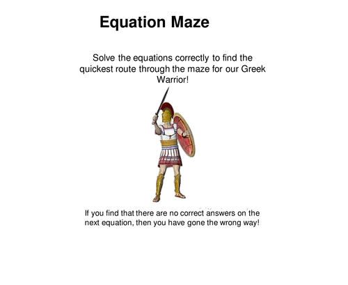 Equation Maze Worksheet and answers