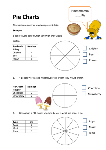 Pie Chart Worksheet Shading In Segments By Vhughes5 Teaching