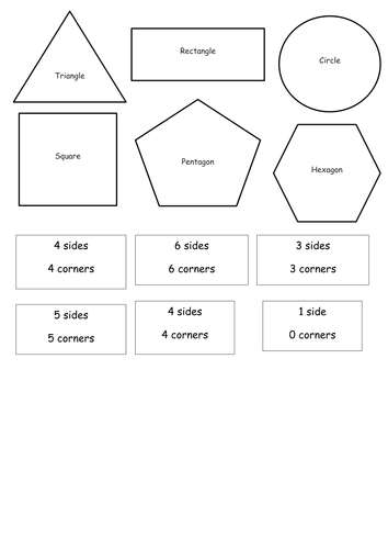 Cut and stick 2D shape with description