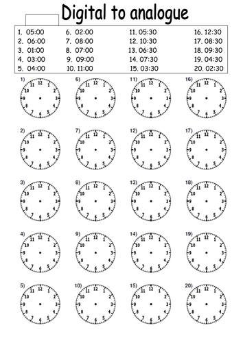 Digital to analogue times worksheet by lcdixon88 - Teaching ...