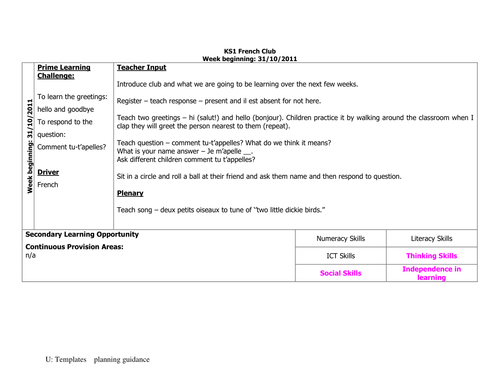 French club planning and IWB resources