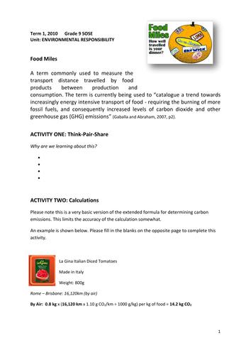 Food Miles - Environmental Sustainability