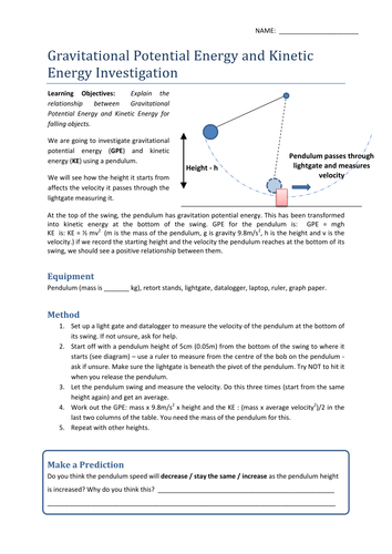 Worksheets Potential And Kinetic Energy Worksheets gravitational potential kinetic energy worksheet by uhf teaching resources tes