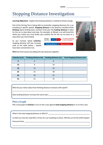 Stopping Distance & Kinetic Energy Worksheet