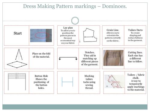 Dress making pattern markings - dominoes