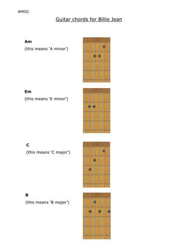 Billie Jean guitar chords by cfirman - Teaching Resources - Tes