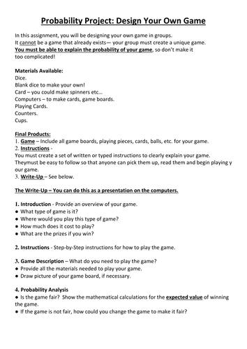 Investigating Probability Activities KS3 Age11-14 by vhughes5 ...