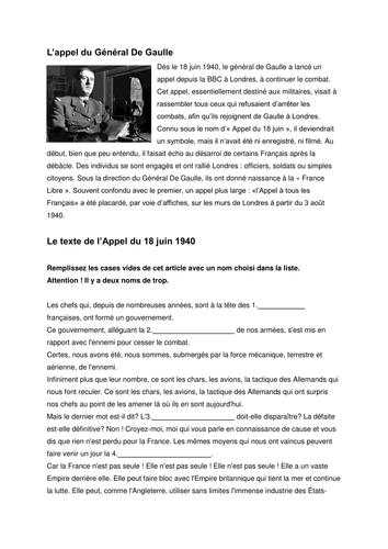 L'occupation de la France - L'Appel du Général