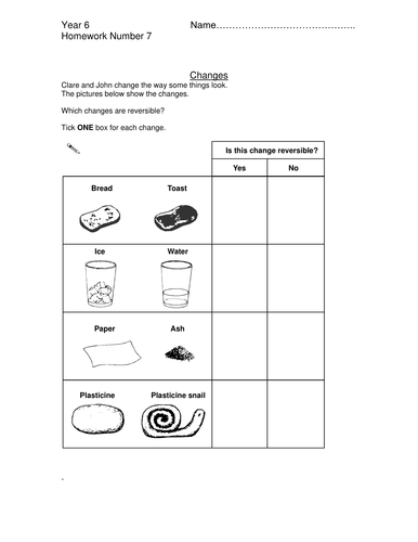 Reversible & Irreversible changes | Teaching Resources
